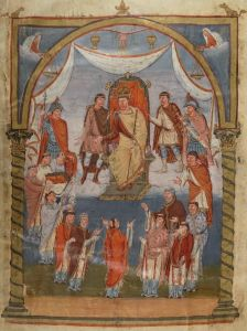 Charles the Bald receiving a delegation of monks from Tours, frontispiece of the Bible of Vivien, 845. Charles the Bald is represented sitting on a monumental throne, crowned and holding the scepter. Above the emperor, the hand of God appears and spreads rays of gold on the sovereign, who is his representative on Earth. The prince is represented in majesty and surrounded by his disciples: he is here assimilated to Christ and the kings of the Old Testament. Indeed, the king is the holder of temporal power and spiritual power. But, at the same time, the monks were represented in the process of offering the Gospels to the prince: they thus pose themselves as intermediaries between God and the prince.