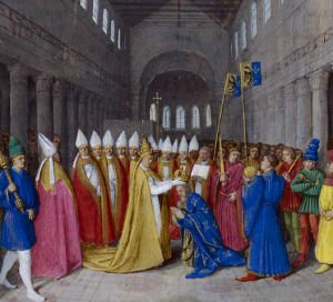 """Charlemagne crowned Emperor by Pope Leo III (800), Great Chronicles of France, Paris, XIVth century. This illumination is not faithful to reality; it is only faithful to the image that the kings of France wished to preserve from this event. The pope alone imagined the ceremony of the coronation to reserve the first role. He laid the crown on Charlemagne's head while he was praying in front of the tomb of St. Peter. The pope then invited the assembly to acclaim: """"Charles, august, crowned by God, great and pacific emperor"""". By crowning Charlemagne first, before the acclamations, Leo III affirmed that all power comes from God (through the pope) and not from the people. This work illustrates the complexity of the relationship between the pope and the emperor, both claiming to be Christ's representatives on Earth."""